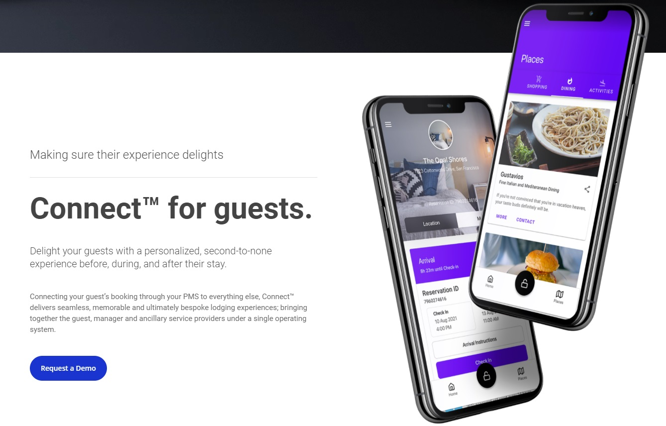 A screenshot from Operto.com showing two smartphones with different options available to guests through Operto ConnectTM_