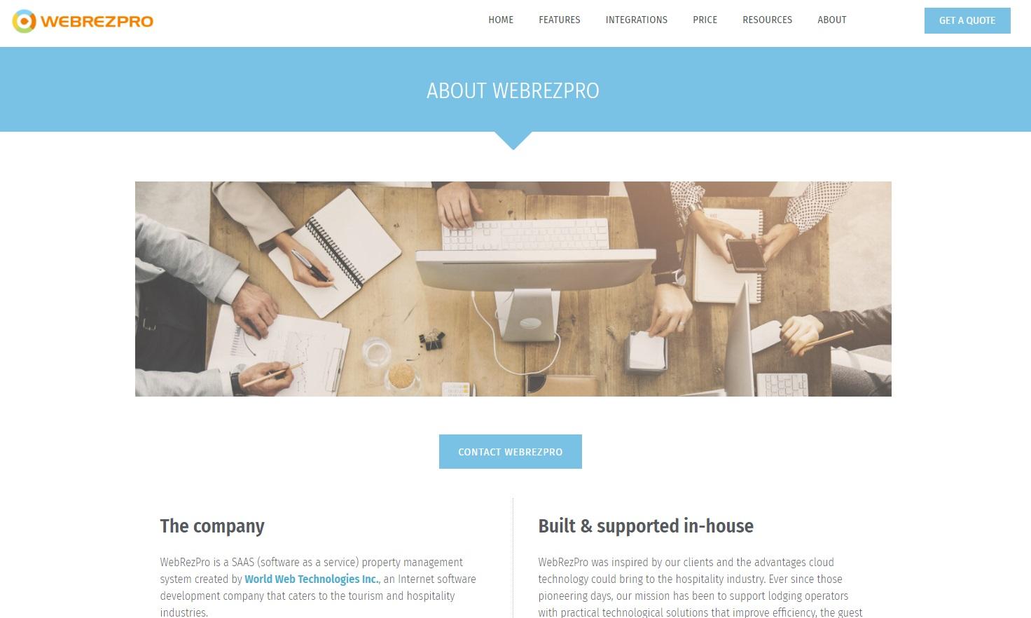 WebRezPro website screenshot