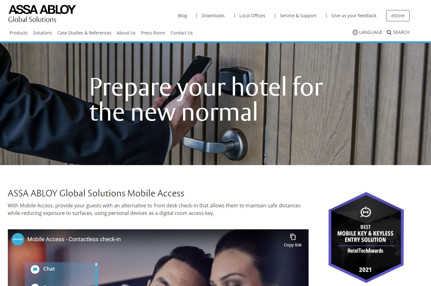 04_Assa Abloy Global Solutions hotel page screenshot
