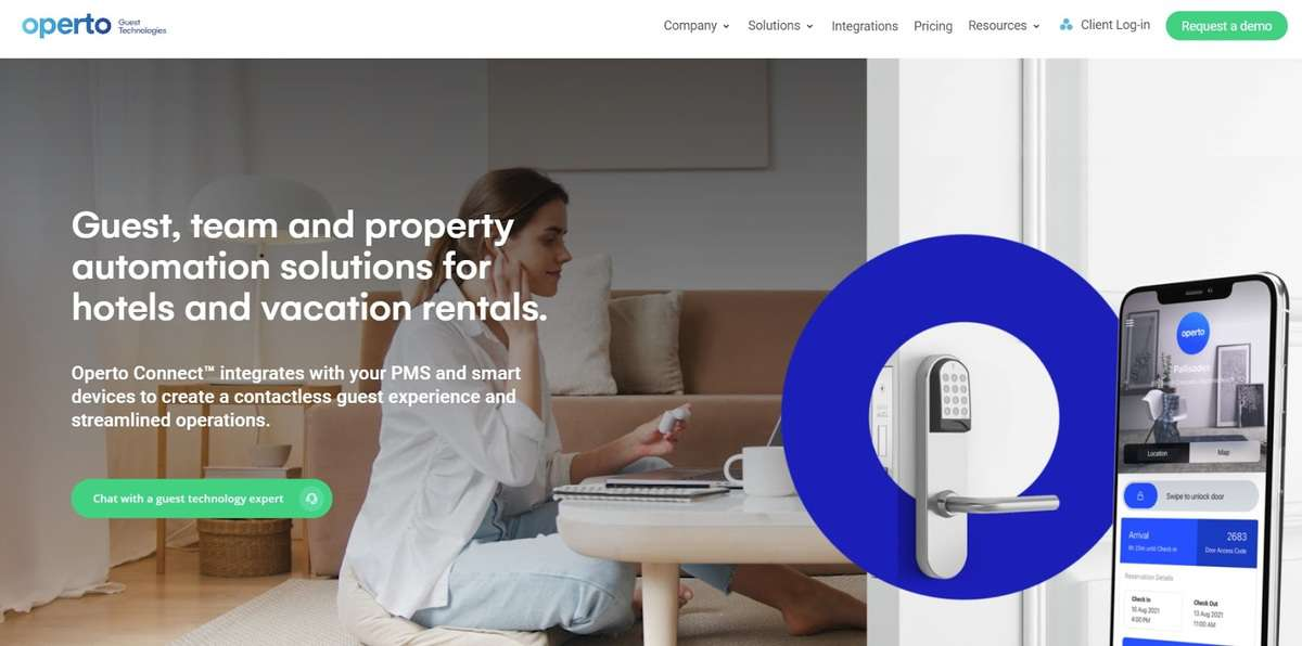 Operto website screenshot showing a smart lock and Operto Connect portal on a phone