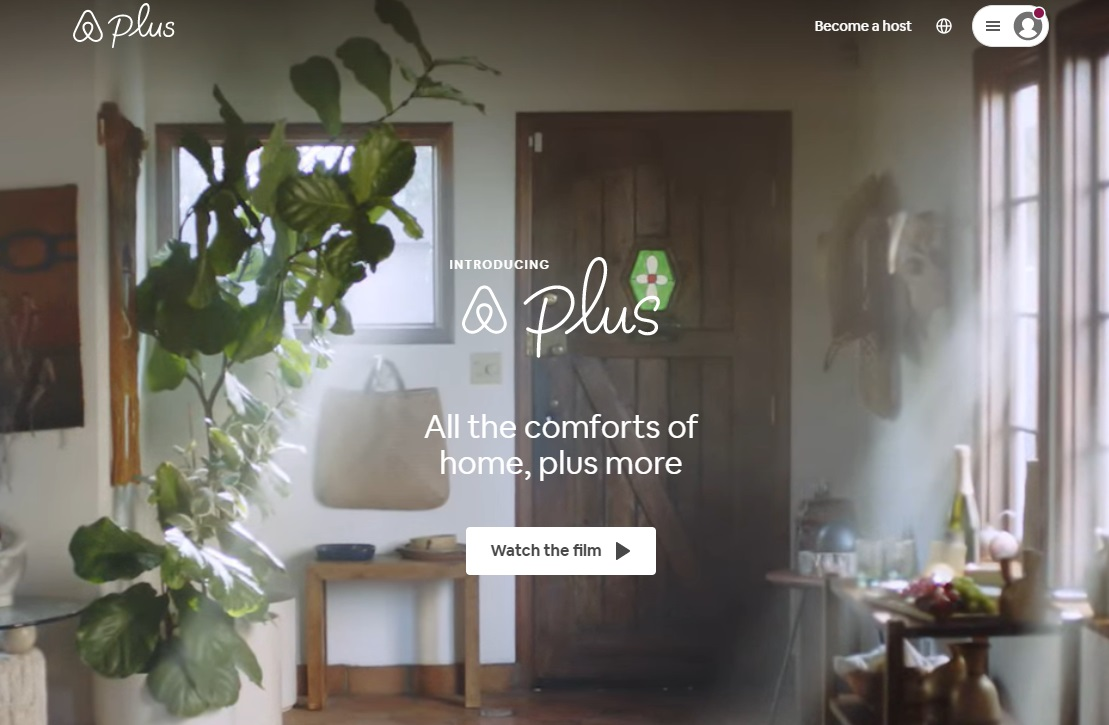 01_A screenshot of the Airbnb Plus homepage