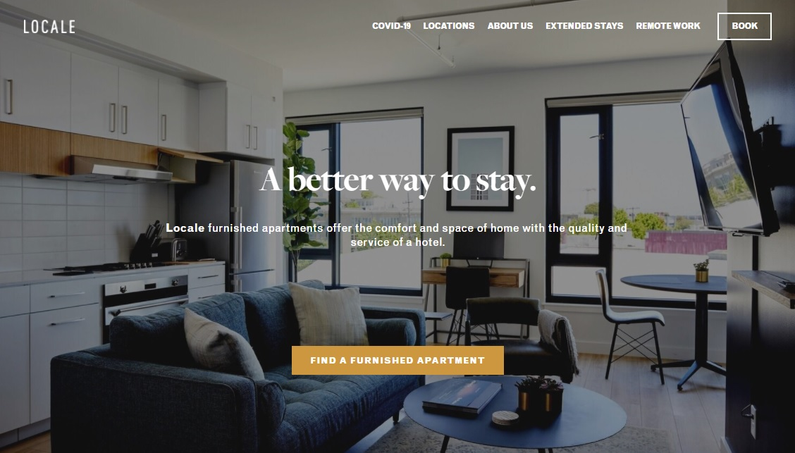 01_Locale_s homepage showing a photo of an apartment and the tagline A better way to stay