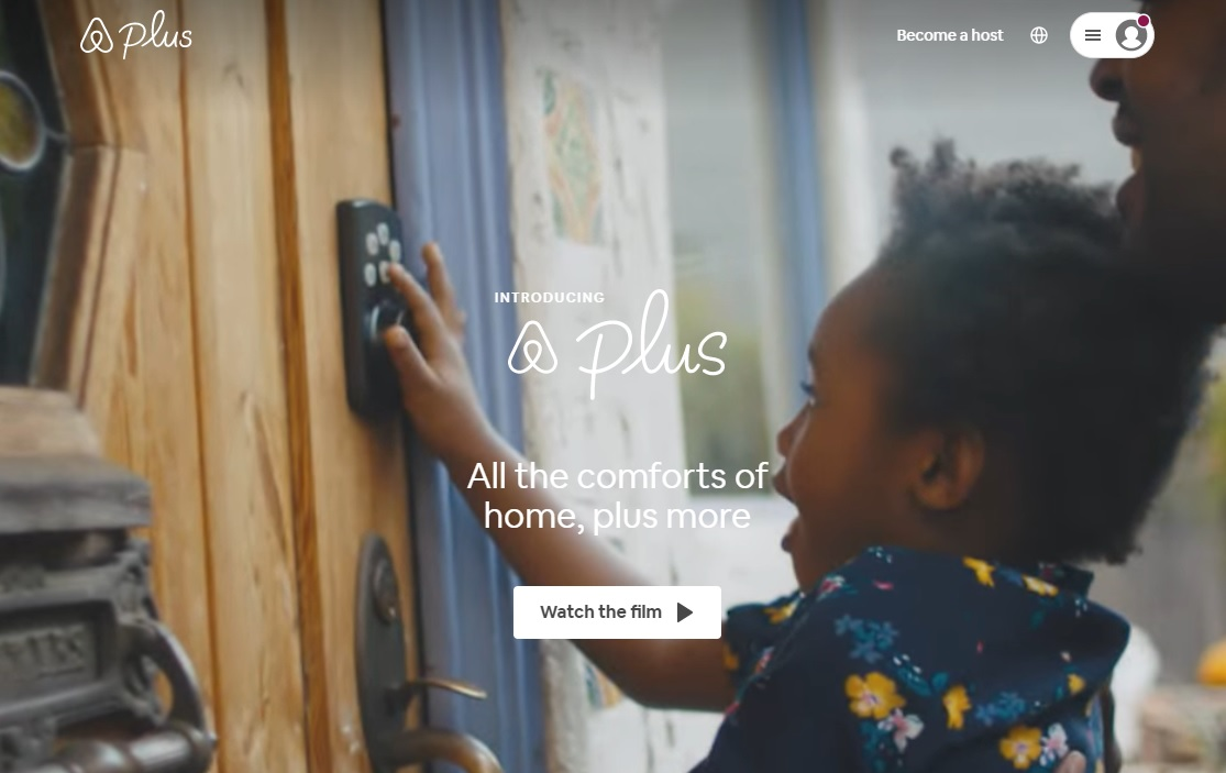 02_A screenshot of the Airbnb Plus homepage with a keypad