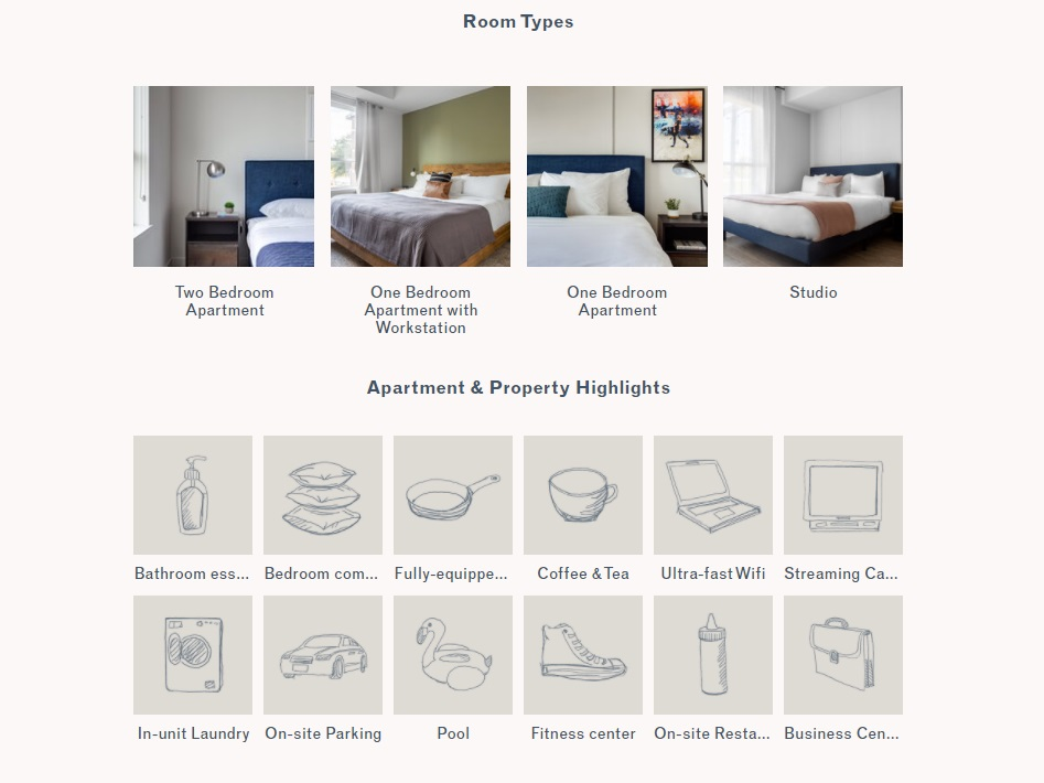 06_Locale website screenshot showing room types and facilities