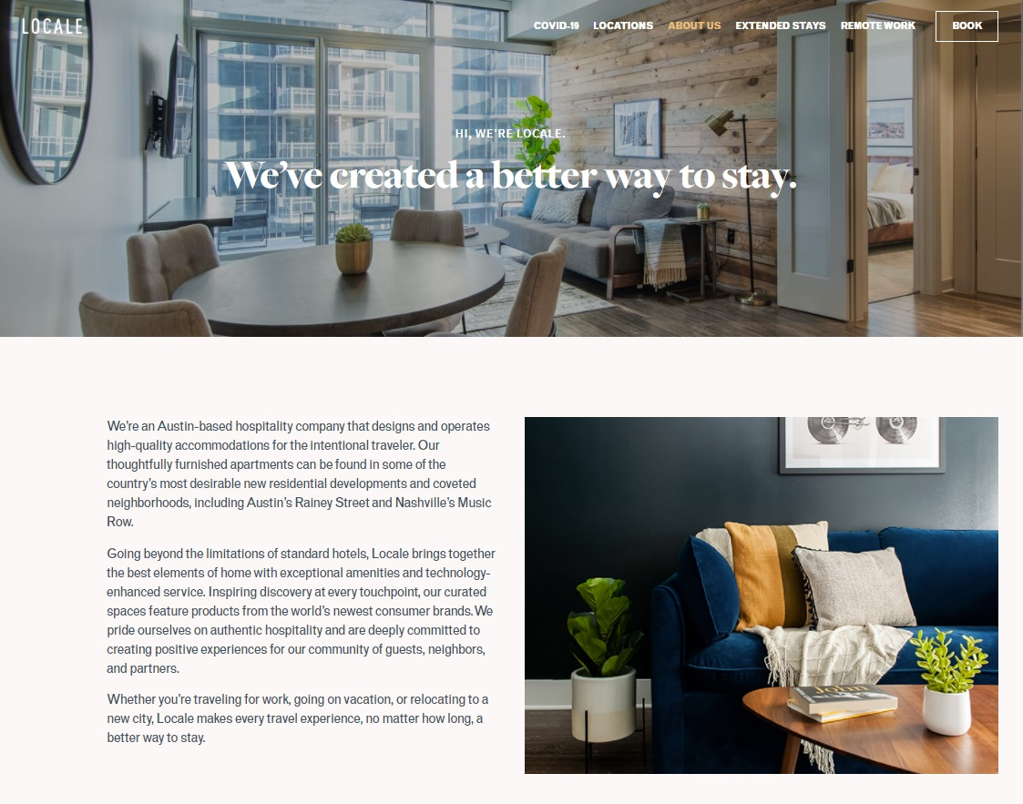 09_Screenshot of Locale website showing more about them and a Better Way to Stay