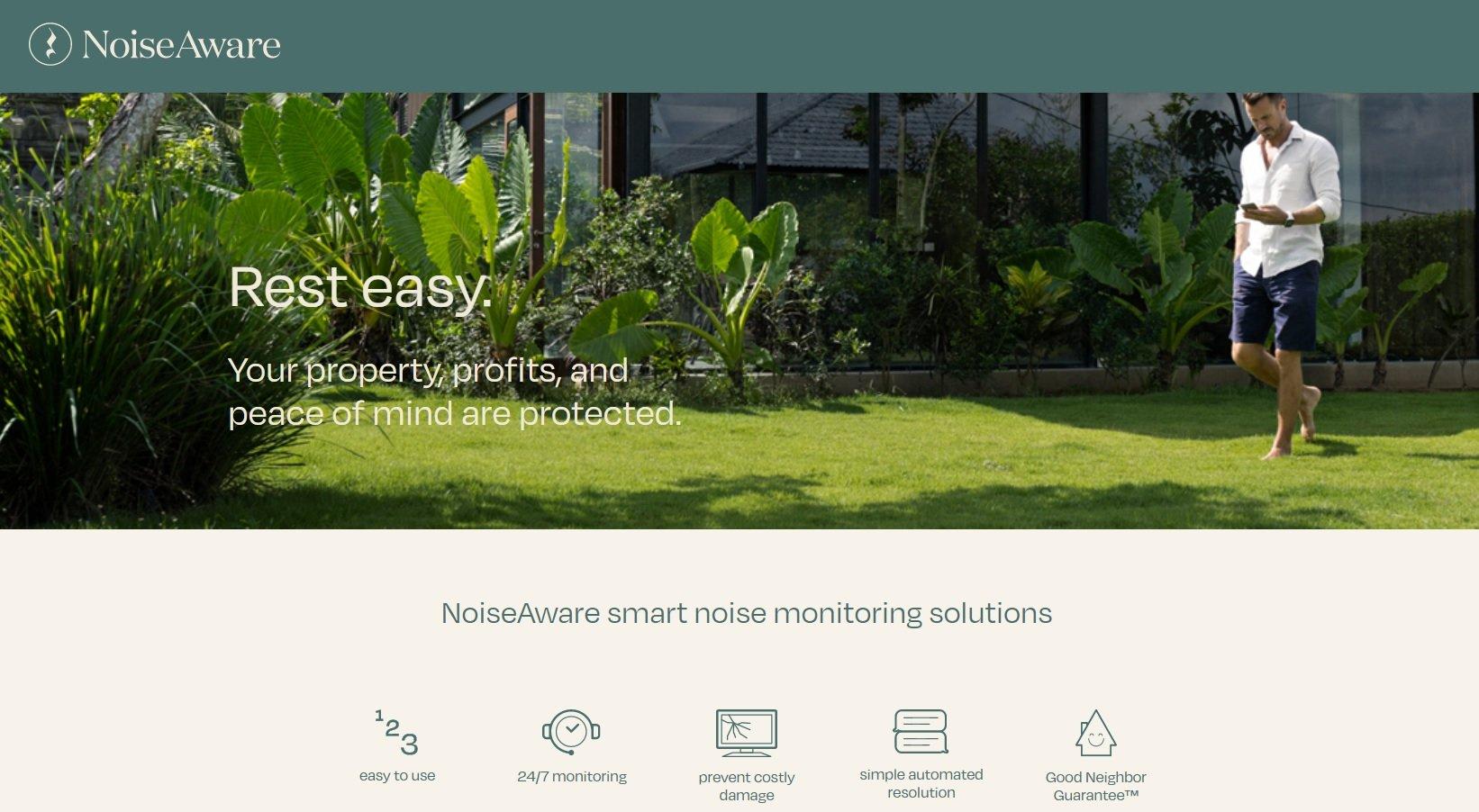 05_NoiseAware is a great form of smart home technology for vacation rentals. NoiseAware website screenshot.