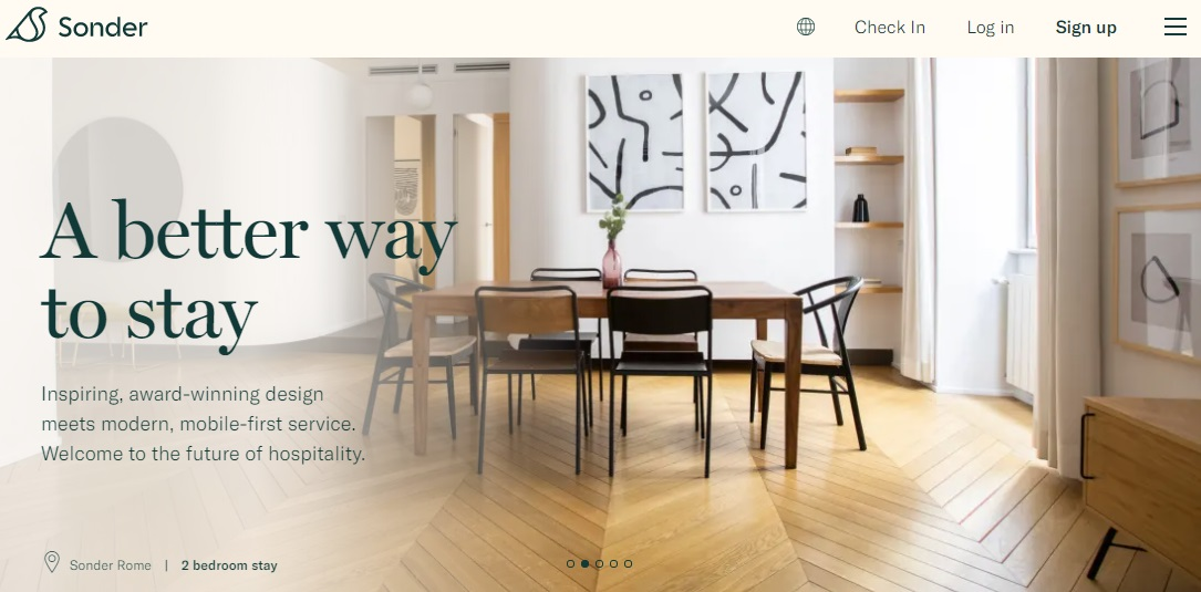 11_Contactless check-in appeals to modern vacation rental travelers. A screenshot of the Sonder website