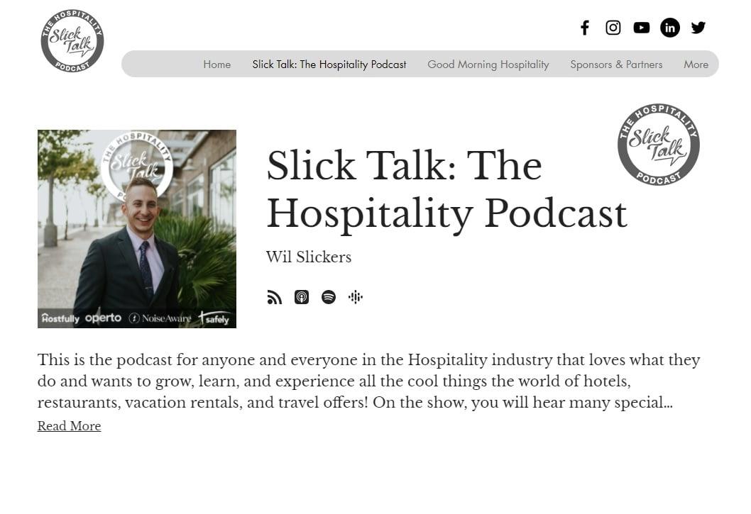 01_slicktalk hospitality podcast website screenshot